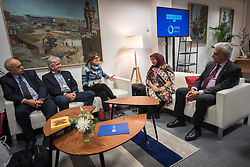 9 December 2019, Madrid, Spain: Religious leaders from a variety of faiths meet to hand over an interfaith declaration to Ovais Sarmad, deputy executive secretary of the UNFCCC, at COP25. Here, Arianne van Andel from the Interreligious Aliance for the Climate, Chile (centre).