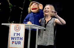 Hillary Clinton Puppet attends the cast of 'Avenue Q' Hosts Town Hall With A Debate Between Puppets Hillary Clinton, 'I'm with Fur' played by Maggie Lakis & Donald Trump, 'Make Puppets Great Again' played by Rob McClure at the New World Stages on September 26, 2016 in New York City, NY, USA. Photo by Dennis Van Tine/ABACAPRESS.COM