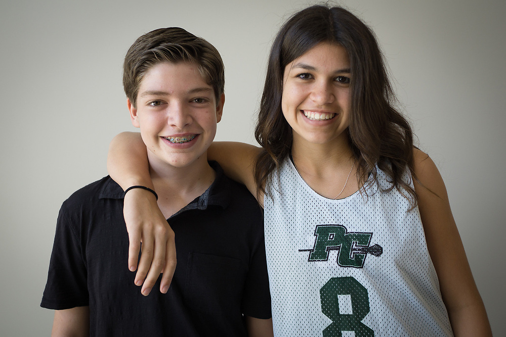 MAY 23, 2015---BOCA RATON, FLORIDA----<br /> Jordan Zietz, 13, and sister Rachel, 14 in their Boca Raton house. The siblings are following in their father's entrepreneurial vein and have successful businesses.
