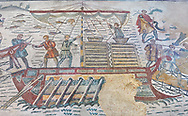 Ambulatory of the Great Hunt Roman mosaic, african animals are loaded onto a ship, room no 28, at the Villa Romana del Casale, first quarter of the 4th century AD. Sicily, Italy. A UNESCO World Heritage Site.<br /> <br /> The Great Hunt ambulatory is around 60 meters long (200 Roman feet) and connects the master's northern apartments with the triclinium in the south. The door in the centre of the the Great Hunt ambulatory leads to audience hall. <br /> <br /> The Great Hunt Roman mosaic depicts African animals being hunted and put onto ships to be taken to the Colosseum. .<br /> <br /> If you prefer to buy from our ALAMY PHOTO LIBRARY  Collection visit : https://www.alamy.com/portfolio/paul-williams-funkystock/villaromanadelcasale.html<br /> Visit our ROMAN MOSAIC PHOTO COLLECTIONS for more photos to buy as buy as wall art prints https://funkystock.photoshelter.com/gallery/Roman-Mosaics-Roman-Mosaic-Pictures-Photos-and-Images-Fotos/G00008dLtP71H_yc/C0000q_tZnliJD08