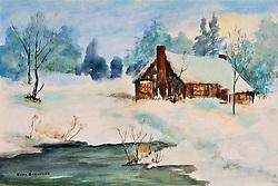 Watercolor. cabin. winter. pond. forest. warm glow. peaceful scene, bucolic, rustic,