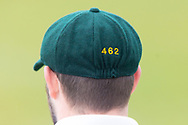 Harry Dearden with cap number 462 during Day 2 of the LV= Insurance County Championship match between Leicestershire County Cricket Club and Hampshire County Cricket Club at the Uptonsteel County Ground, Leicester, United Kingdom on 9 April 2021.