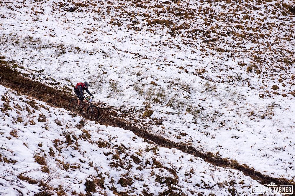John Bryan-merrett cuts through the snow on stage one of the Kinlochleven Enduro.