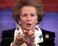 British Prime Minister Margaret Thatcher seen during a press conference in Buckinghamshire, UK in May 1990. Photograph by Terry Fincher