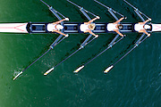 Vienna, AUSTRIA.  Women's Quadruple sculls passes under the bridge on an training session at the 2009 FISA Masters Championships Thursday  03/09/2009  [Mandatory Credit. Peter Spurrier/Intersport Images] YOB Year of birth.