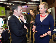 Patricia  O'Toole fashion designer and Damien English TD, Minister of State at the Department of Jobs, Enterprise & Innovationat the annual SCCUL Enterprise Awards prize giving ceremony and business expo which was hosted by NUI Galway in the Bailey Allen Hall, NUIG. Photo:Andrew Downes