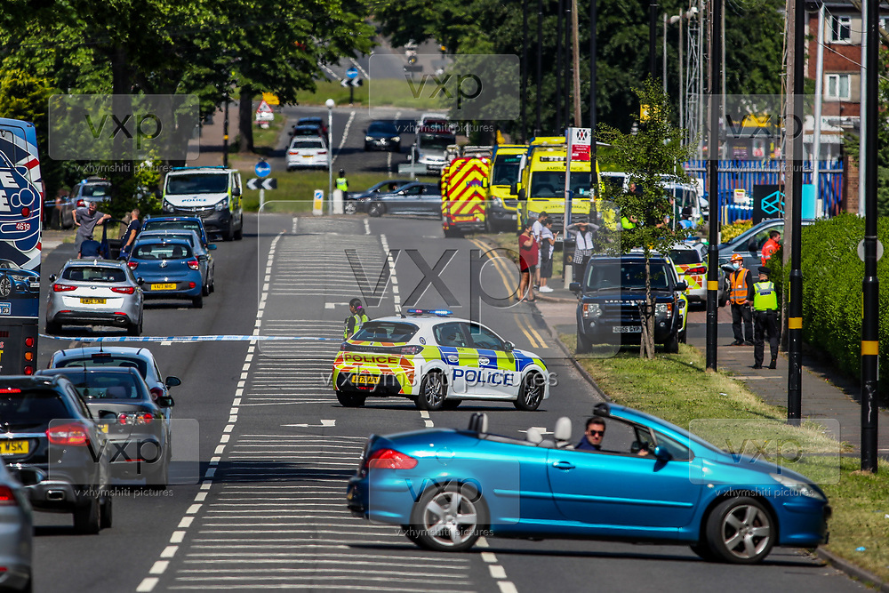 Birmingham, United Kingdom, June 14, 2021: Police are currently at the scene in Kitts Green in Birmingham in a bid to resolve the situation after Palestine Action say they are 'occupying' the site claiming the company 'provided cladding for Grenfell Tower' and 'materials for Israel's fighter jets.' (Photo by Vudi Xhymshiti)