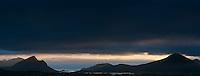 Dramatic stormy light over mountains of Vestvagoy, Lofoten islands, Norway