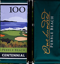 June 12, 2019 - Pebble Beach, CA, U.S. - PEBBLE BEACH, CA - JUNE 12: Signage commemorating the 100th Anniversary of Pebble Beach seen during a practice round for the 2019 US Open on June 12, 2019, at Pebble Beach Golf Links in Pebble Beach, CA. (Photo by Brian Spurlock/Icon Sportswire) (Credit Image: © Brian Spurlock/Icon SMI via ZUMA Press)