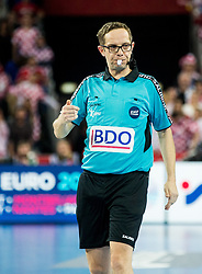 Referee Marcus Helbig of Germany  during handball match between National teams of Croatia and France on Day 7 in Main Round of Men's EHF EURO 2018, on January 24, 2018 in Arena Zagreb, Zagreb, Croatia.  Photo by Vid Ponikvar / Sportida