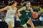 March 18, 2016; Tempe, Ariz;  Green Bay Phoenix forward Mehryn Kraker (10) drives past Tennessee Lady Volunteers guard Alexa Middleton (33) during a game between No. 7 Tennessee Lady Volunteers and No. 10 Green Bay Phoenix in the first round of the 2016 NCAA Division I Women's Basketball Championship in Tempe, Ariz.