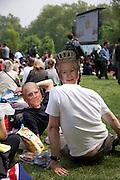 Celebrations near Buckingham Palace on the day of the Royal wedding of Prince William and Catherine Middleton, London, United Kingdom.