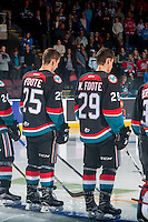 KELOWNA, CANADA - SEPTEMBER 24: Cal Foote #25 and brother Nolan Foote #29 of the Kelowna Rockets line up against the Kamloops Blazers on September 24, 2016 at Prospera Place in Kelowna, British Columbia, Canada.  (Photo by Marissa Baecker/Shoot the Breeze)  *** Local Caption *** Cal Foote; Nolan Foote;