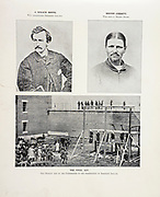 """Execution of the Conspirators in the Assassination of President Lincoln J. Wilkes Booth (Top Left) and Thomas H. """"Boston"""" Corbett (Top Right) from The American Civil War book and Grant album : """"art immortelles"""" : a portfolio of half-tone reproductions from rare and costly photographs designed to perpetuate the memory of General Ulysses S. Grant, depicting scenes and incidents in connection with the Civil War Published  in Boston and New York by W. H. Allen in 1894"""