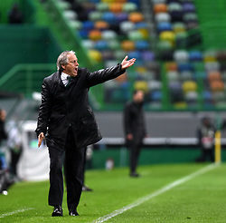 LISBON, April 13, 2018  Head Coach of Sporting Jorge Jesus reacts during the Europa League quarterfinal second leg soccer match between Sporting CP and Club Atletico de Madrid at the Jose Alvalade stadium in Lisbon, Portugal, on April 12, 2018. Sporting won 1-0 but was eliminated by a 1-2 aggregate. (Credit Image: © Zhang Yadong/Xinhua via ZUMA Wire)