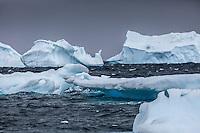 Icebergs around Cuverville Island, Antarctica.