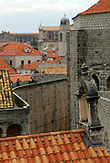 Section of wall and buildings, viewed at rooftop level, Dubrovnik old town, Croatia