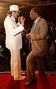 ATLANTA, GA - MAY 14:  Singer and Beacon Award winner Carlos Santana meets with Reverend Jesse Jackson (right) at the MLB Beacon Awards Banquet at the Omni Hotel on May 14, 2011 in Atlanta, Georgia.  (Photo by Mike Zarrilli/Getty Images)