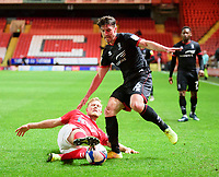 Lincoln City's Joe Walsh vies for possession with Charlton Athletic's Jayden Stockley<br /> <br /> Photographer Andrew Vaughan/CameraSport<br /> <br /> The EFL Sky Bet League One - Charlton Athletic v Lincoln City - Tuesday 4th May 2021 - The Valley - London <br /> <br /> World Copyright © 2021 CameraSport. All rights reserved. 43 Linden Ave. Countesthorpe. Leicester. England. LE8 5PG - Tel: +44 (0) 116 277 4147 - admin@camerasport.com - www.camerasport.com
