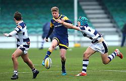 Noah Heward (Solihull School) of Worcester Warriors Under 18s kicks the ball - Mandatory by-line: Robbie Stephenson/JMP - 14/01/2018 - RUGBY - Sixways Stadium - Worcester, England - Worcester Warriors Under 18s v Yorkshire Carnegie Under 18s - Premiership Rugby U18 Academy