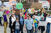 Bar Harbor, USA. 29 April, 2017. Protesters walk in the Downeast Climate March, a sister march to the People's Climate March in Washington, D.C.
