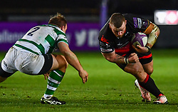 Dragons' Lloyd Fairbrother in action during todays match<br /> <br /> Photographer Craig Thomas/Replay Images<br /> <br /> EPCR Champions Cup Round 4 - Newport Gwent Dragons v Newcastle Falcons - Friday 15th December 2017 - Rodney Parade - Newport<br /> <br /> World Copyright © 2017 Replay Images. All rights reserved. info@replayimages.co.uk - www.replayimages.co.uk