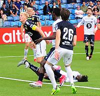 Fotball Tippeligaen 2017  09.07.2017<br /> Gamle Gress Marienlyst stadion Drammen<br /> <br /> <br /> Resultat 4 - 2<br /> <br /> Strømsgodset <br /> <br /> Kristiansund Jean Mendy kræsjer med godsets Jakob Glesner og besvimer momentant<br /> <br /> <br /> <br /> Foto: Robert Christensen Digitalsport