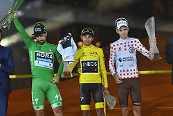 July 28, 2019, Paris, France: Slovakian Peter Sagan of Bora-Hansgrohe wearing the green jersey of the winner in the points ranking, Colombian Egan Bernal of Team Ineos wearing the yellow jersey of the winner in the overall ranking and French Romain Bardet of AG2R La Mondiale wearing the red polka-dot jersey for best climber, celebrate on the podium after the final stage of the 106th edition of the Tour de France cycling race, from Rambouillet to Paris Champs-Elysees (128km), France, Sunday 28 July 2019. This year's Tour de France starts in Brussels and takes place from July 6th to July 28th. (Credit Image: © David Stockman/Belga via ZUMA Press)