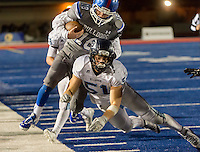 Bellarmine College Prep Bells, Jacob Bergstrom (51), knocks Folsom Bulldog's Jake Jeffery (18), out of bounds during the fourth quarter as the Folsom Bulldogs host the Bellarmine College Prep Bells in the CIF NorCal Division I-AA championship football game at Folsom High School, Friday, December 11, 2015.<br /> Brian Baer/Special to The Bee