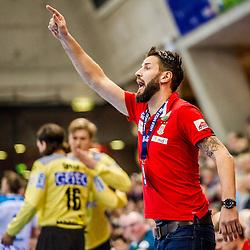 Bennet Wiegert (SC Magdeburg #C1) beim Spiel in der Handball Bundesliga, TVB 1898 Stuttgart - SC Magdeburg.<br /> <br /> Foto © PIX-Sportfotos *** Foto ist honorarpflichtig! *** Auf Anfrage in hoeherer Qualitaet/Aufloesung. Belegexemplar erbeten. Veroeffentlichung ausschliesslich fuer journalistisch-publizistische Zwecke. For editorial use only.
