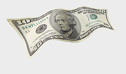 wavy 10 001 United States ten dollar bill floating on air with a white background