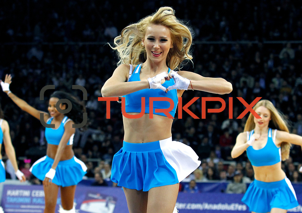 Anadolu Efes's  show girls during their Turkish Airlines Euroleague Basketball playoffs Game 4 Anadolu Efes between Olympiacos at Abdi ipekci Arena in Istanbul, Turkey, Friday, April 19, 2013. Photo by Aykut AKICI/TURKPIX