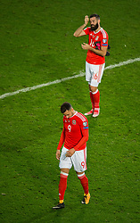 CARDIFF, WALES - Monday, October 9, 2017: Wales' Joe Ledley and Hal Robson-Kanu react at the final whistle during the 2018 FIFA World Cup Qualifying Group D match between Wales and Republic of Ireland at the Cardiff City Stadium. (Pic by Peter Powell/Propaganda)