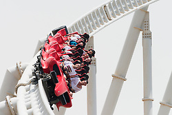World's fastest Rollercoaster at Ferrari World in Abu Dhabi United Arab Emirates