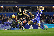 Brighton & Hove Albion winger Anthony Knockaert (11) takes a long range shot during the EFL Sky Bet Championship match between Birmingham City and Brighton and Hove Albion at St Andrews, Birmingham, England on 17 December 2016.