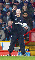 23/10/2004<br />FA Barclays Premiership - Crystal Palace v West Bromich Albion - Selhurst Park<br />Crystal Palace's manager Iain Dowie picks up the ball and shouts instructions during the match.<br />Photo:Jed Leicester/Back Page Images