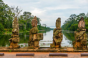 Devas statues, Bridge to Angkor Thom, Angkor, Siem Reap, Cambodia,
