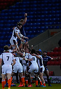 Edinburgh Rugby second-row Ben Toolis wins a line out during the European Champions Cup match Sale Sharks -V- Edinburgh Rugby at The AJ Bell Stadium, Greater Manchester,England United Kingdom, Saturday, December 19, 2020. (Steve Flynn/Image of Sport)