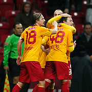 Galatasaray's Sercan Yildirim (B) celebrate his goal with team mate during their Turkey Cup matchday 3 soccer match Galatasaray between AdanaDemirspor at the Turk Telekom Arena at Aslantepe in Istanbul Turkey on Tuesday 10 January 2012. Photo by TURKPIX