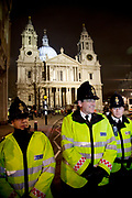 Police lines as eviction of the Occupy London OLSX camp takes place. The anti-capitalist demonstration that saw protesters camp outside St Paul's Cathedral in London was brought to an end by bailiffs and police. Protesters staging Occupy London were refused permission by the Court of Appeal last week to challenge orders evicting them from the cathedral steps, where they had been living in tents since October 15 last year. The City of London Corporation called on protesters to remove their tents voluntarily, but around 50 or 60 refused to budge. Some protesters created makeshift barriers out of wooden shelving units as police moved in to help bailiffs clear the camp. Police said 20 people had been arrested but the operation was largely peaceful.