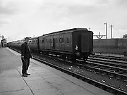 11/08/1960 <br /> 08/11/1960<br /> 11 August 1960<br /> Rail crash at Amiens Street (Connolly) station, Dublin.<br /> A Belfast-to-Dublin train crashed the Duffers at the Amiens terminal Thursday because of a brake failure and 80 persons were hurt Most suffered only slight injuries. Picture shows the train which had the mishap, levying the station on a trial run. Image for K. McKenna, 60 Pembroke Road, Ballsbridge.