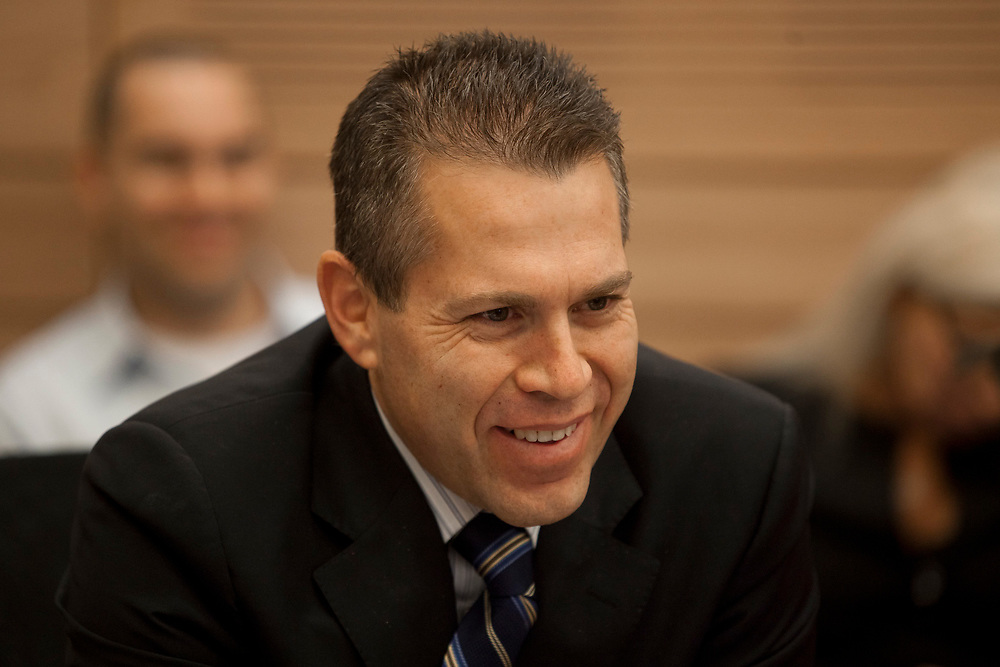 Israel's Minister of Environmental Protection Gilad Erdan attends a session of the Finance Committee at the Knesset, Israel's parliament in Jerusalem, on January 10, 2012.
