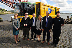 Bin lorry, North Queensferry, 20-5-2016<br /> <br /> A world's first - Fife's Hydrogen dual-fuel bin lorry<br /> <br /> Cllr Lesley Laird, Robert Snodgrass (Special trucks account manager, Western Mercedes),  Ally Cormack (Heil Farid),  Barbara Whiting (Lead professional Fife Council),  Tom Henderson (Service Manager Fife Council) and David Hogg (Bright Green Hydrogen)<br /> <br /> (c) David Wardle | Edinburgh Elite media