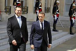 June 16, 2017 - Paris - Juri Ratas ( Premier Ministre d Estonie ) - Emmanuel Macron  (Credit Image: © Panoramic via ZUMA Press)