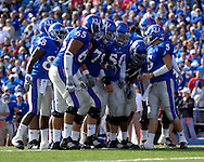 November 3, 2007 - Lawrence, KS..The Kansas Jayhawks in the huddle down on the goal line against the Nebraska Cornhuskers, during a NCAA football game at Memorial Stadium on November 3, 2007...FBC:  The Jayhawks defeated the Huskers 76-39.  .Photo by Peter G. Aiken/Cal Sport Media