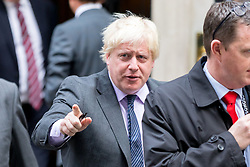 © Licensed to London News Pictures. 17/10/2017. London, UK. Foreign and Commonwealth Secretary Boris Johnson leaving No 10 Downing Street after attending a Cabinet meeting this morning. Photo credit : Tom Nicholson/LNP