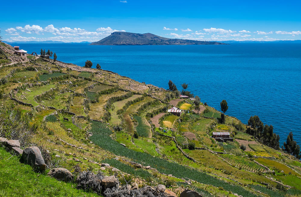 View of Amantani Island as seen from Taquile in Lake Titicaca, Peru.