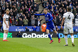 March 9, 2019 - Leicester, Leicestershire, United Kingdom - Jamie Vardy of Leicester City turns to celebrate after scoring his second goal of te game  during the Premier League match between Leicester City and Fulham at the King Power Stadium, Leicester on Saturday 9th March 2019. (Credit Image: © Mi News/NurPhoto via ZUMA Press)