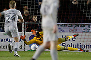 John Marquis of Portsmouth (not pictured) scores from the penalty spot 0-2, during the EFL Sky Bet League 1 match between Lincoln City and Portsmouth at Sincil Bank, Lincoln, United Kingdom on 28 January 2020.