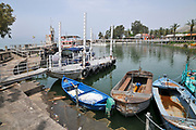Israel, Kibbutz Ein Gev (Established 1937) on the shores of the Sea of Galilee. Fishing boats in the harbour